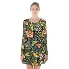 Bohemia Floral Pattern Long Sleeve Velvet V Neck Dress