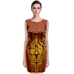 Lion Man Tribal Sleeveless Velvet Midi Dress