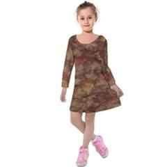 Brown Texture Kids  Long Sleeve Velvet Dress