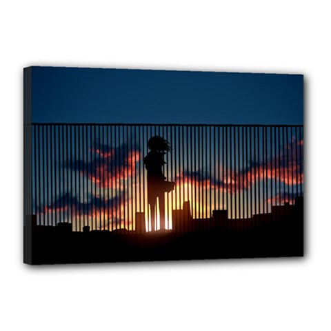 Art Sunset Anime Afternoon Canvas 18  X 12  by BangZart