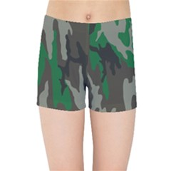 Army Green Camouflage Kids Sports Shorts by BangZart