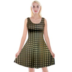 Background Colors Of Green And Gold In A Wave Form Reversible Velvet Sleeveless Dress