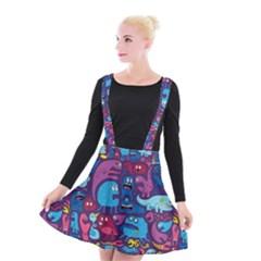Hipster Pattern Animals And Tokyo Suspender Skater Skirt