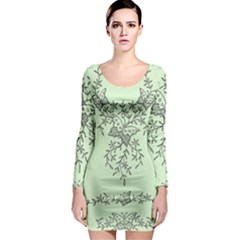 Illustration Of Butterflies And Flowers Ornament On Green Background Long Sleeve Bodycon Dress