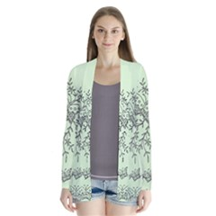 Illustration Of Butterflies And Flowers Ornament On Green Background Drape Collar Cardigan by BangZart