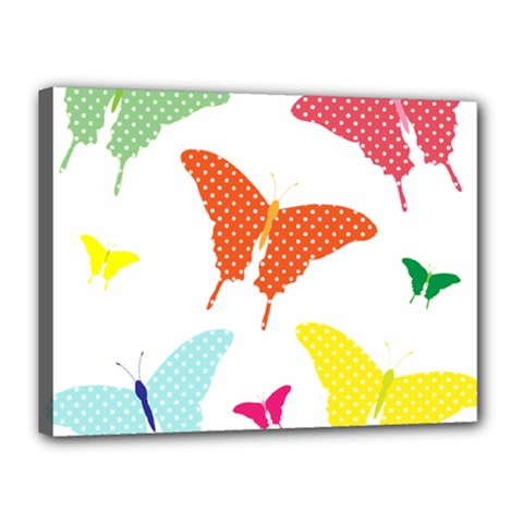 Beautiful Colorful Polka Dot Butterflies Clipart Canvas 16  X 12  by BangZart