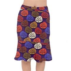 Colorful Trees Background Pattern Mermaid Skirt