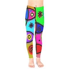 Digitally Painted Colourful Abstract Whimsical Shape Pattern Kids  Legging by BangZart