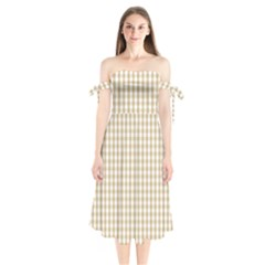 Christmas Gold Large Gingham Check Plaid Pattern Shoulder Tie Bardot Midi Dress by PodArtist