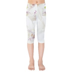 Orchids Flowers White Background Kids  Capri Leggings  by BangZart