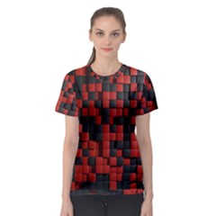 Black Red Tiles Checkerboard Women s Sport Mesh Tee