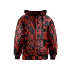 Black Red Tiles Checkerboard Kids  Zipper Hoodie