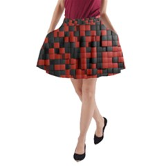 Black Red Tiles Checkerboard A Line Pocket Skirt