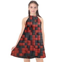 Black Red Tiles Checkerboard Halter Neckline Chiffon Dress