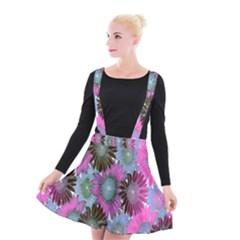 Floral Pattern Background Suspender Skater Skirt