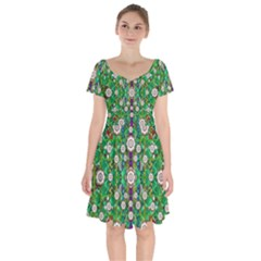 Pearl Flowers In The Glowing Forest Short Sleeve Bardot Dress by pepitasart
