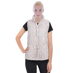 Off White Lace Pattern Women s Button Up Puffer Vest