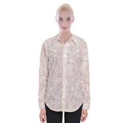 White Sparkle Glitter Pattern Womens Long Sleeve Shirt