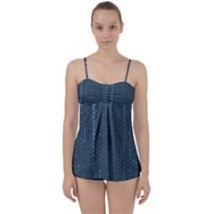 Blue Sparkly Sequin Texture Babydoll Tankini Set