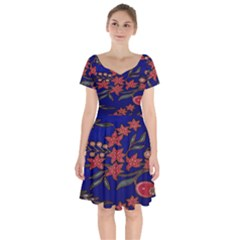 Batik  Fabric Short Sleeve Bardot Dress by BangZart