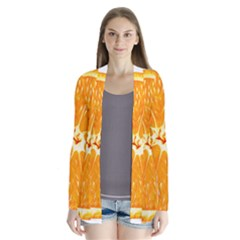 Orange Slice Drape Collar Cardigan by BangZart