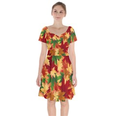Autumn Leaves Short Sleeve Bardot Dress by BangZart