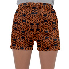 Triangle Knot Orange And Black Fabric Sleepwear Shorts by BangZart