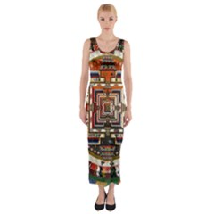 Colorful Mandala Fitted Maxi Dress