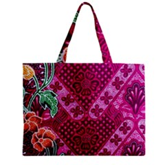 Pink Batik Cloth Fabric Zipper Mini Tote Bag by BangZart