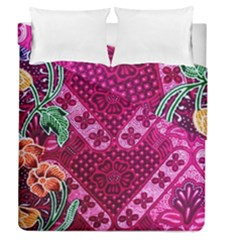 Pink Batik Cloth Fabric Duvet Cover Double Side (queen Size) by BangZart