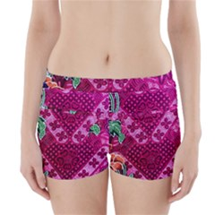 Pink Batik Cloth Fabric Boyleg Bikini Wrap Bottoms by BangZart