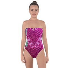 Pink Batik Cloth Fabric Tie Back One Piece Swimsuit by BangZart
