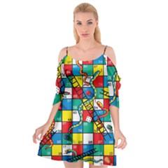 Snakes And Ladders Cutout Spaghetti Strap Chiffon Dress
