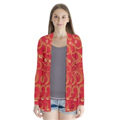 Golden Swirls Floral Pattern Drape Collar Cardigan by BangZart