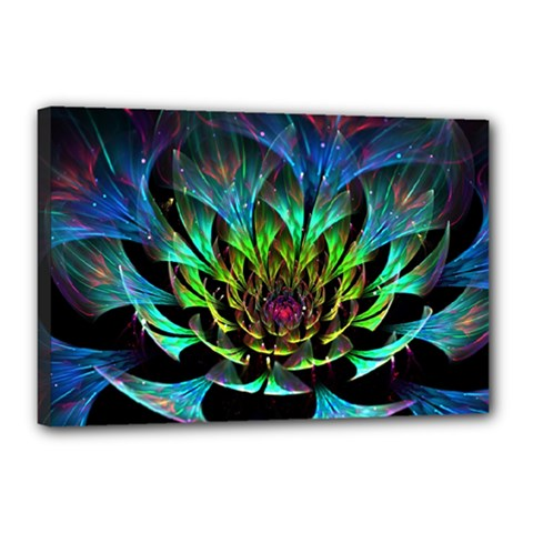Fractal Flowers Abstract Petals Glitter Lights Art 3d Canvas 18  X 12  by BangZart