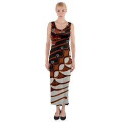 Traditional Batik Sarong Fitted Maxi Dress