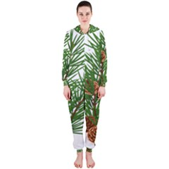 Branch Floral Green Nature Pine Hooded Jumpsuit (ladies)