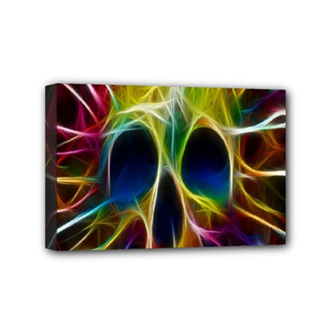 Skulls Multicolor Fractalius Colors Colorful Mini Canvas 6  X 4  by BangZart