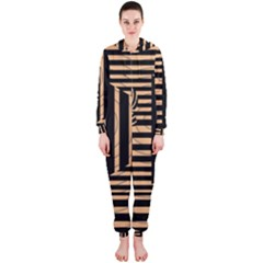 Wooden Pause Play Paws Abstract Oparton Line Roulette Spin Hooded Jumpsuit (ladies)