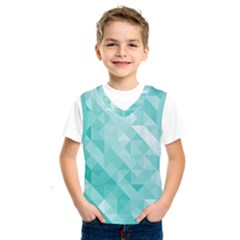 Bright Blue Turquoise Polygonal Background Kids  Sportswear by TastefulDesigns