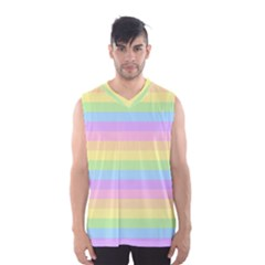 Cute Pastel Rainbow Stripes Men s Basketball Tank Top by BangZart