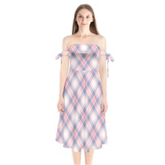Pastel Pink And Blue Plaid Shoulder Tie Bardot Midi Dress by NorthernWhimsy