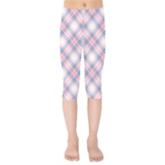 Pastel Pink And Blue Plaid Kids  Capri Leggings  by NorthernWhimsy