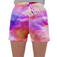 Colorful Abstract Pink And Purple Pattern Sleepwear Shorts by paulaoliveiradesign