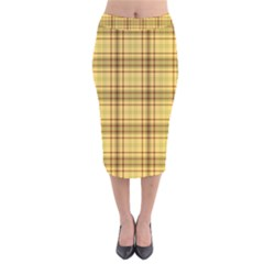 Plaid Yellow Fabric Texture Pattern Velvet Midi Pencil Skirt by paulaoliveiradesign