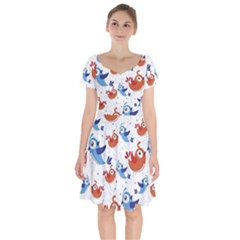 Birds Patterns Blue Orange  Short Sleeve Bardot Dress by amphoto
