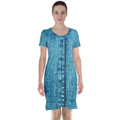 Denim Jeans Fabric Texture Short Sleeve Nightdress by paulaoliveiradesign
