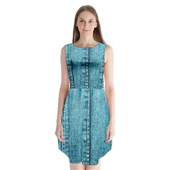 Denim Jeans Fabric Texture Sleeveless Chiffon Dress   by paulaoliveiradesign