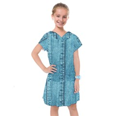 Denim Jeans Fabric Texture Kids  Drop Waist Dress by paulaoliveiradesign
