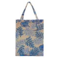 Fabric Embroidery Blue Texture Classic Tote Bag by paulaoliveiradesign